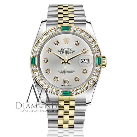 Rolex Rolex 36mm 2Tone Silver Color Dial with 10 Round Emerald Diamond Image 2