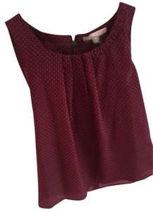 Forever 21 Love 21 21 21's Love 21 Polka Dot Wear To Work Sleeveless Pink Dots Feminine Silky Silky Shell Shell 21 Work Top Oxblood