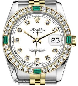 Rolex Women's Rolex 31mm Datejust 2Tone WhiteColor Dial with Emerald Diamond