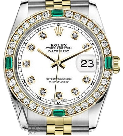 Rolex Women's Rolex 31mm Datejust 2Tone WhiteColor Dial with Emerald Diamond Image 0