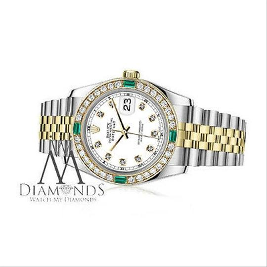 Rolex Women's Rolex 31mm Datejust 2Tone WhiteColor Dial with Emerald Diamond Image 1