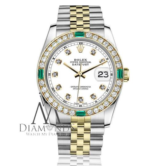 Rolex Women's Rolex 31mm Datejust 2Tone WhiteColor Dial with Emerald Diamond Image 2