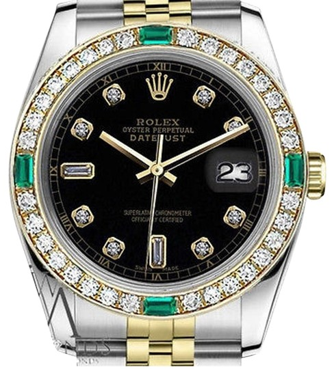 Preload https://img-static.tradesy.com/item/16748020/rolex-ladies-26mm-2tone-black-color-dial-with82-emerald-diamond-watch-0-1-540-540.jpg