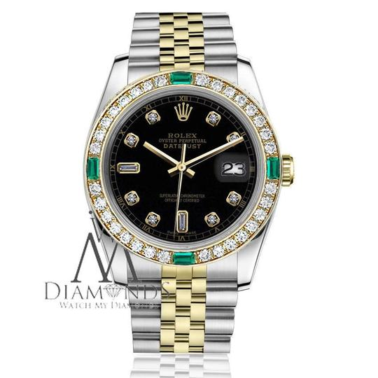 Rolex Ladies Rolex 26mm 2Tone Black Color Dial with8+2 Emerald Diamond