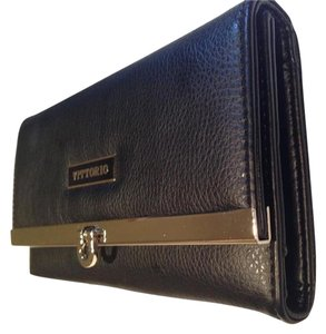 Vittorio Black Leather Wallet Clutch