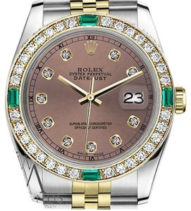 Rolex Ladies Rolex 26mm Datejust 2Tone SalmonColor Dial with Emerald Diamond