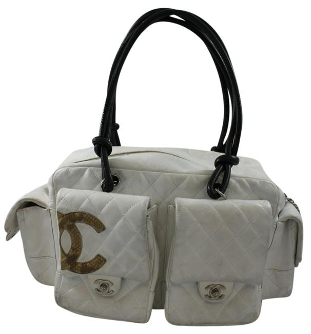 Item - Reporter Cambon Quilted X Large White Lambskin Leather Satchel