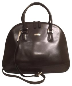 Oroton Leather Satchel in Dark Chocolate Brown