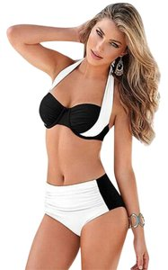 Other Ladies Push-up Padded Stylish WHITE BLACK Bicolor High Waist Bikini Swimsuit XL