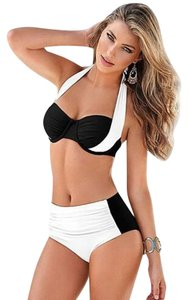 Ladies Push-up Padded Stylish WHITE BLACK Bicolor High Waist Bikini Swimsuit M