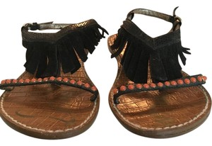 Sam Edelman Suede Fringe Studded Black Sandals