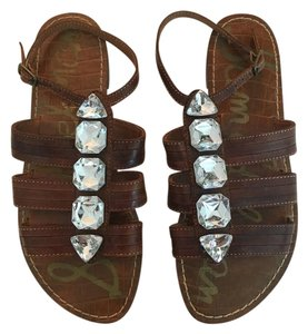 Sam Edelman Rhinestones Leather Brown Sandals