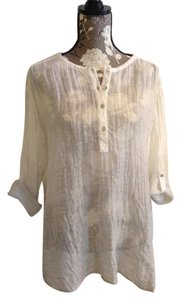 Eileen Fisher 12 Tunic Popover Flax Bryn Walker Top Sheer white/lt. gray stripe