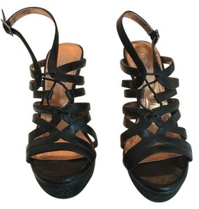 BCBGeneration Leather Crisscross Strap Black Platforms