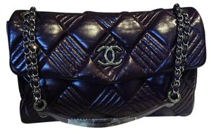 Chanel Sac Rabat Plum Lambskin Quilted Shoulder Bag