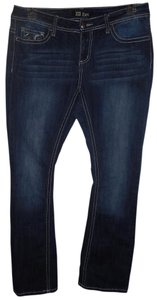 ZCO Jeans Low Rise Embellished Embroidered Boot Cut Jeans-Dark Rinse