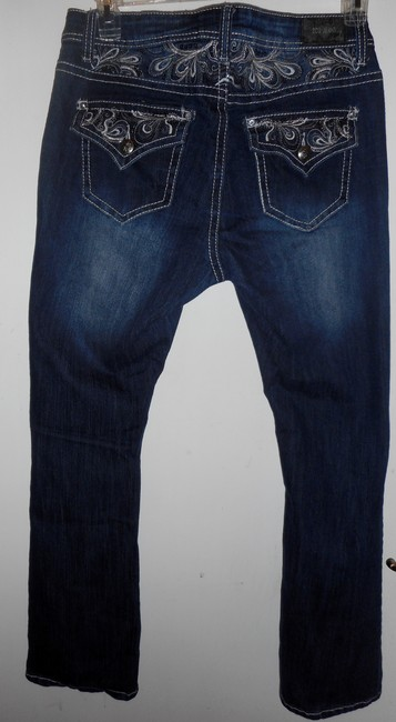 ZCO Jeans Low Rise Embellished Embroidered Boot Cut Jeans-Dark Rinse Image 1