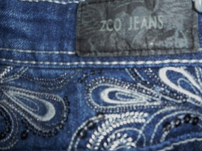 ZCO Jeans Low Rise Embellished Embroidered Boot Cut Jeans-Dark Rinse Image 5