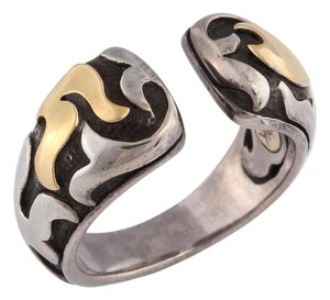 John Hardy Two Tone Sterling Silver and Gold Dayak Ring