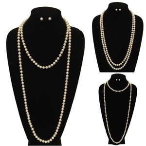 Long Pearl Strand Necklace and Earring Set