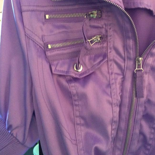 Ashley By 26 International Satin Look Short Waisted Casual Zipper Down Silver And Lavender Light Lavender Jacket