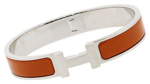 Hermès Hermes Clic H Orange Enamel Palladium Gents Bangle