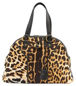 Saint Laurent Muse Leopard Print Pony Hair Leather Satchel in Black