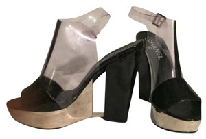 Chanel Black Patent Stainless Steel Clear Platforms