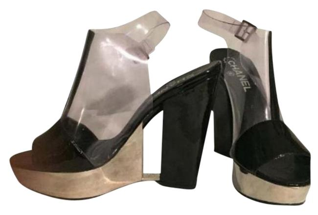 Item - Black Patent Stainless Steel Clear Leather and Wedges Platforms Size US 9.5 Regular (M, B)