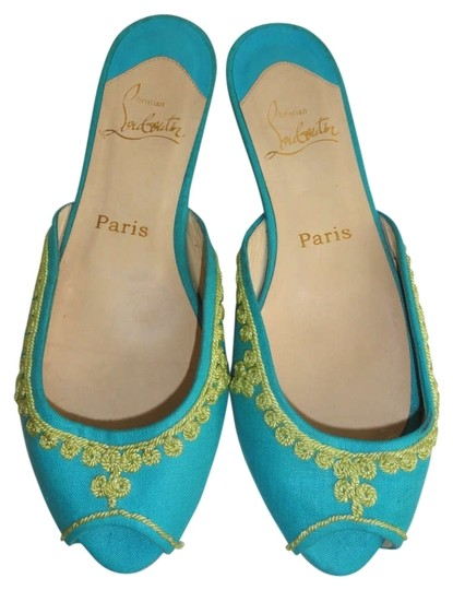 Preload https://img-static.tradesy.com/item/167522/christian-louboutin-turquoise-embroidered-open-toe-flats-size-us-8-0-0-540-540.jpg