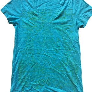 J.Crew T Shirt Turquoise with Green Print