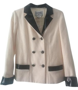 Chanel Patent Leather Jacket White Blazer