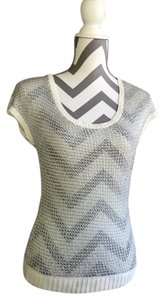 bebe Summer Girl Top silver and white
