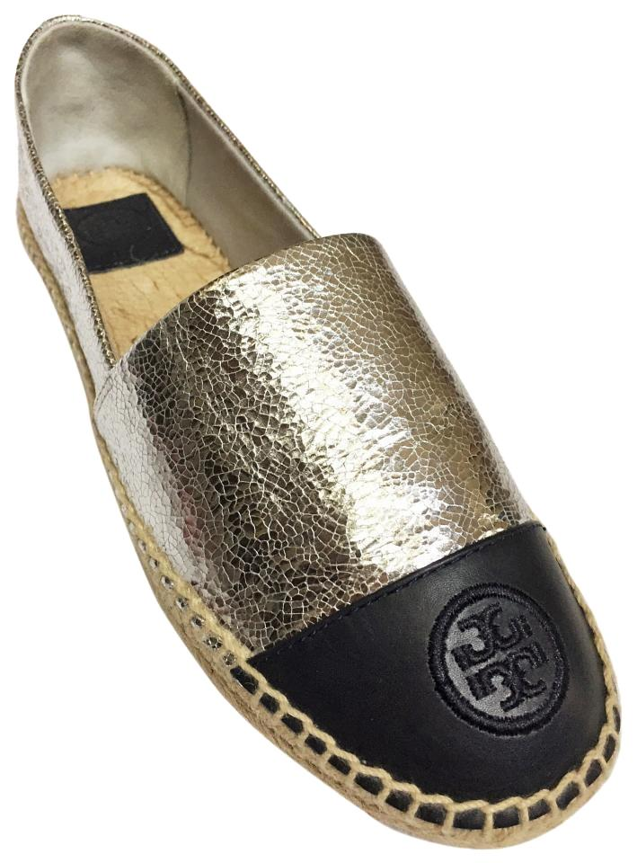 2c13a2c5fedd Tory Burch Silver Navy In Box Color-block Craquelle Metallic Leather  Espadrille Flats