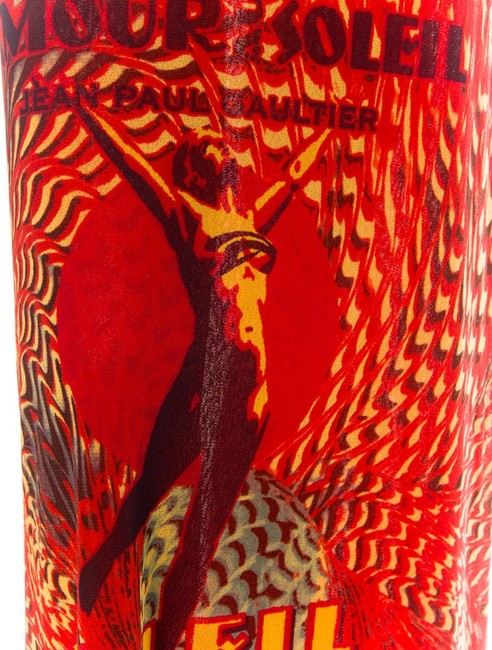 red , with design in yellow ,black Maxi Dress by JEAN PAUL GAULTIER SOLEIL DRESS