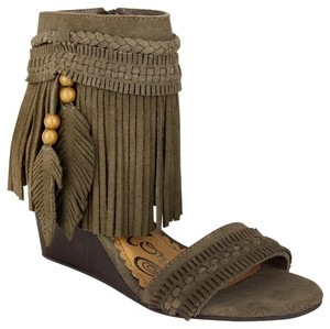 Naughty Monkey Suede Wedge Fringe Sandal Taupe Wedges