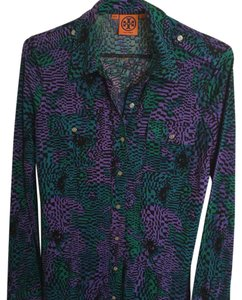Tory Burch Button Down Shirt Purple ,Green & Black