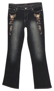 Paco Jeans Beaded Sequin Embroidered Embellished Floral Boot Cut Jeans-Dark Rinse