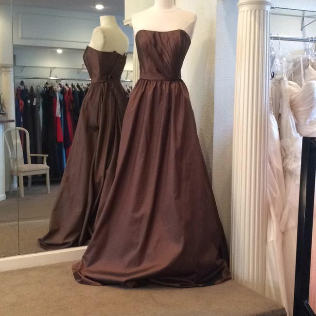 Item - Chocolate Taffeta Formal Bridesmaid/Mob Dress Size 10 (M)