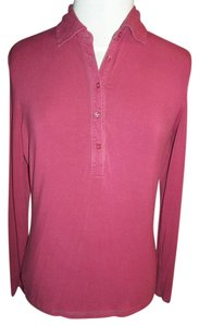 Tommy Hilfiger Medium Longsleeve 5 Button Front Collar T Shirt Deep Rose