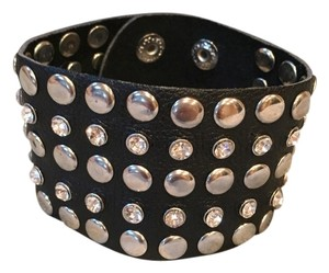 Faux Leather Rhinestone Studded Bracelet