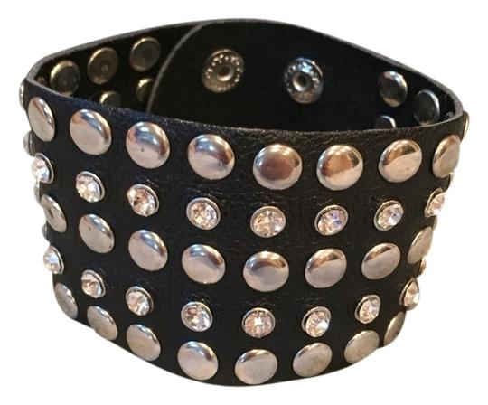 Preload https://item2.tradesy.com/images/black-with-silver-faux-leather-rhinestone-studded-bracelet-1675401-0-0.jpg?width=440&height=440