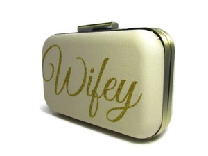 Wifey Bridal Clutch Champage Brass & Gold Glitter Etsy Vincent V. Designs