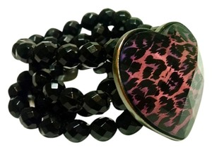 New Wide Beaded Cheetah Heart Bracelet Black Pink J607