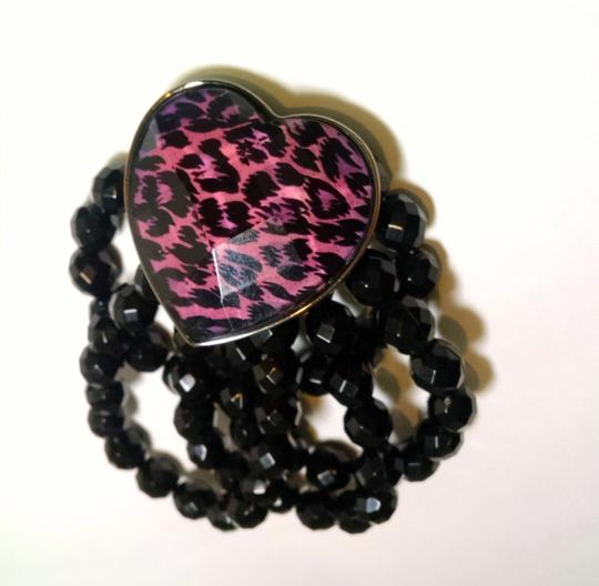Other New Wide Beaded Cheetah Heart Bracelet Black Pink J607