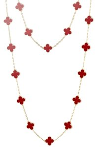 Van Cleef & Arpels Vintage Alhambra long necklace, 20 motifs, yellow gold, carnelian. VCARD39800