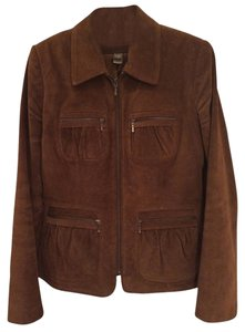Banana Republic Suede Zip Brown Chestnut brown Jacket
