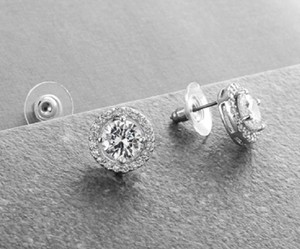 Silver/Rhodium Love Solitaire Earrings