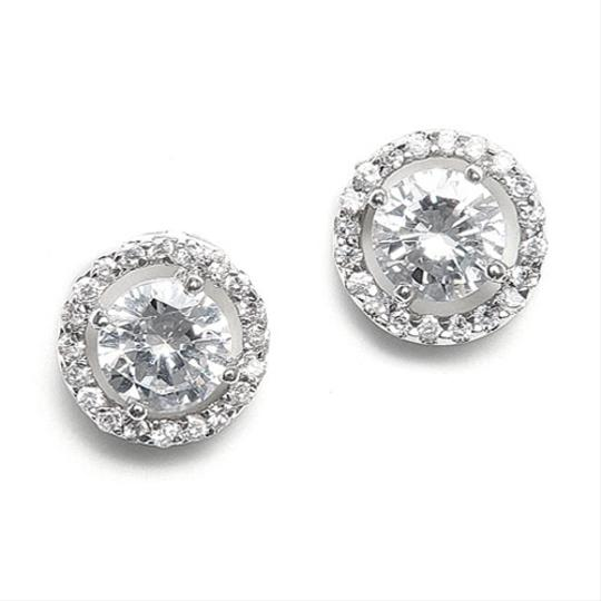 Silver/Rhodium Love Solitaire Earrings Image 1