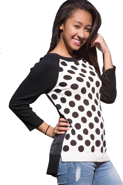 Preload https://item4.tradesy.com/images/ellen-tracy-black-and-white-long-sleeve-polka-dot-mixed-texture-sweaterpullover-size-16-xl-plus-0x-1675463-0-3.jpg?width=400&height=650
